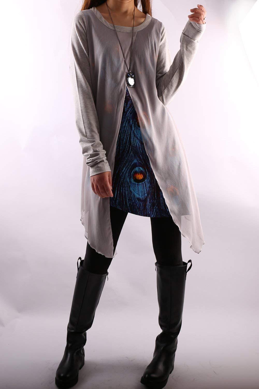 Womens Layered Cotton//Chiffon Tunic dress Grey