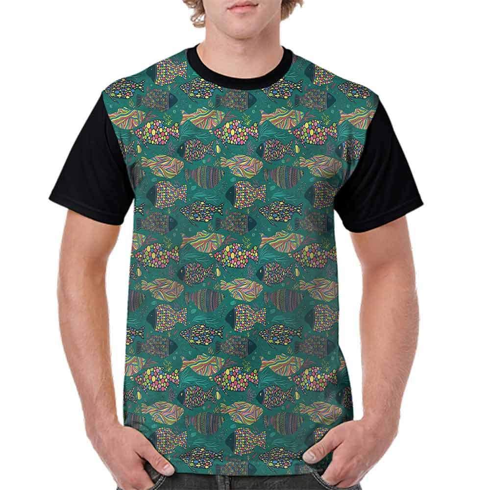 BlountDecor Loose T Shirt,Underwater Sea Fish Oriental Fashion Personality Customization