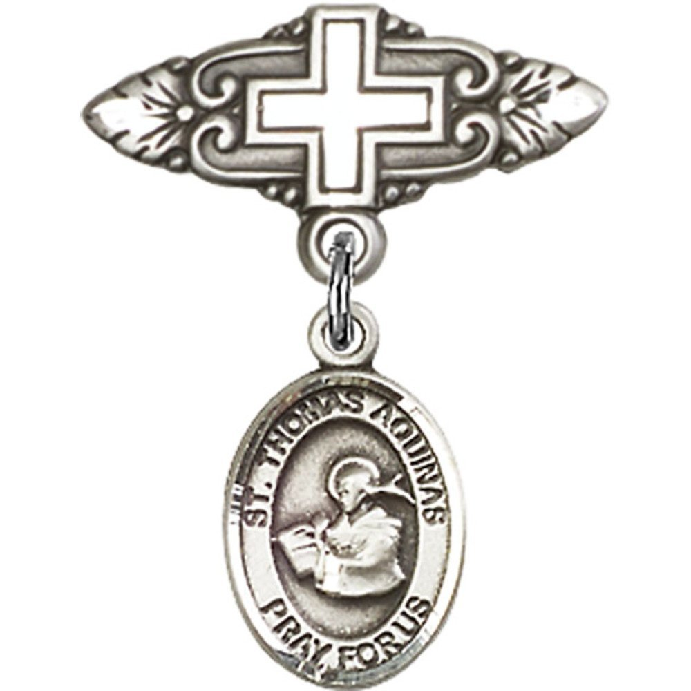 Sterling Silver Baby Badge with St. Thomas Aquinas Charm and Badge Pin with Cross 1 X 3/4 inches