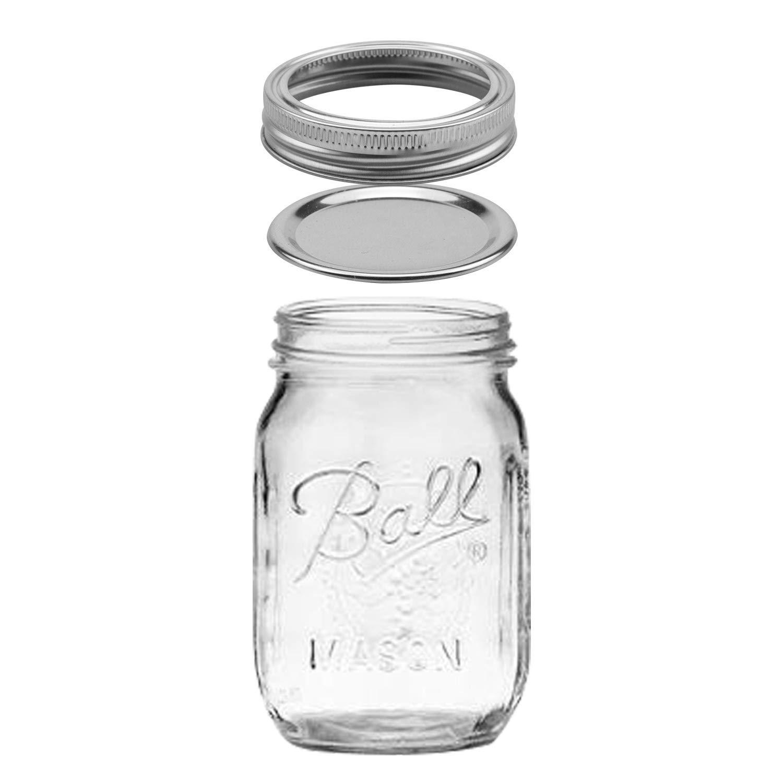 Tebery 12 Pack Ball Mason Jars 16 oz Mason Jars with Regular Mouth Canning Glass Jars with Lids