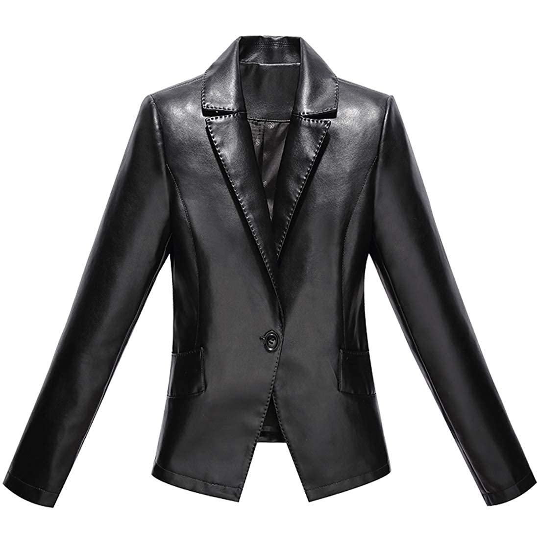 Jenkoon Womens One Button Faux Leather Blazer Casual Short Jacket Stitching Detail