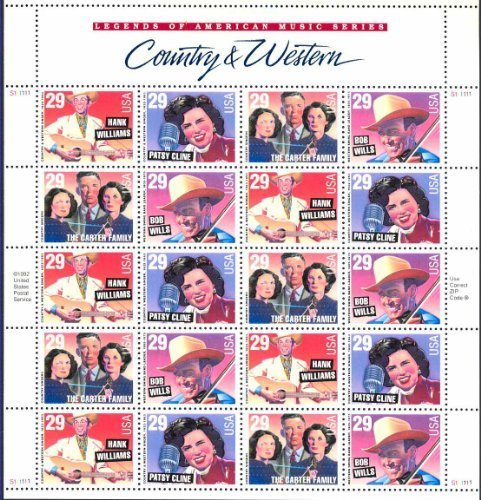Music Stamp Series - Country and Western Music Legends 29 Cent Sheet of 20 Stamps Scott 2771-74 By USPS