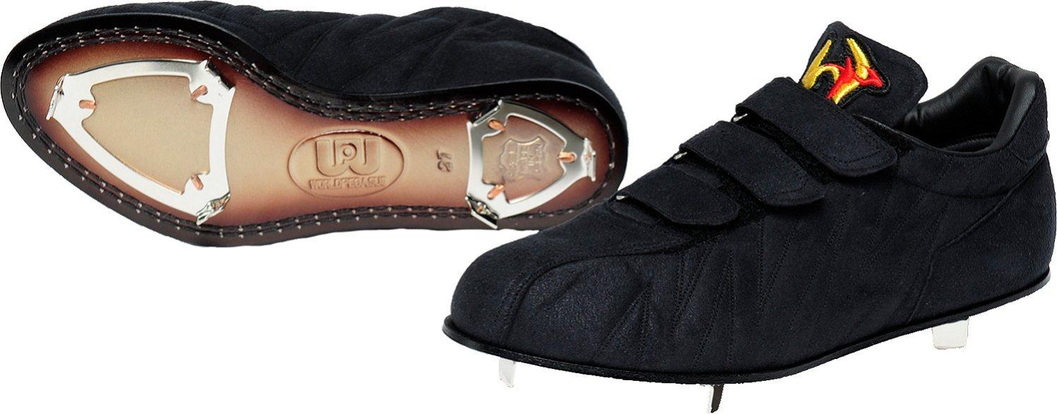 worldpegasus(ワールドペガサス) 野球 スパイク 革底 スエード調3本ベルト WSL803 B076X38CRR 28.0cm ブラック/ブラック