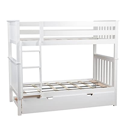 Amazon Com Max Lily Solid Wood Twin Over Twin Bunk Bed With