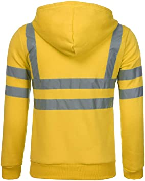 Men Road Work High Visibility Pullover Long Sleeve Hooded Sweatshirt Top T-shirt