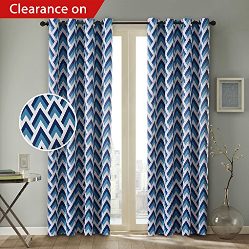 Blackout Curtains2 Panels Children Curtains Navy Teal Zapp Nursery Infant Care Grommet Eyelet Top 52W By 63L Inch Geometric Pattern