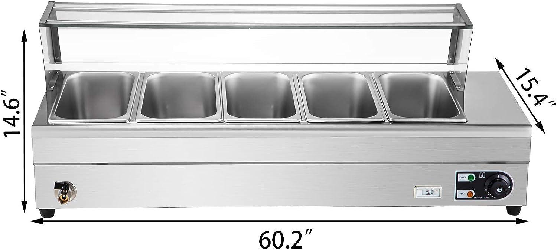 Warmhaltebeh/älter mit 2 L/öffeln und Einem Flexiblen Schlauch BuoQua Gastronomie Beh/älter Edelstahl 1500 W Speisew/ärmer 5 Abnehmbare Pfannen Warmhaltebeh/älter Essen 325x265x150 mm Speisewanne