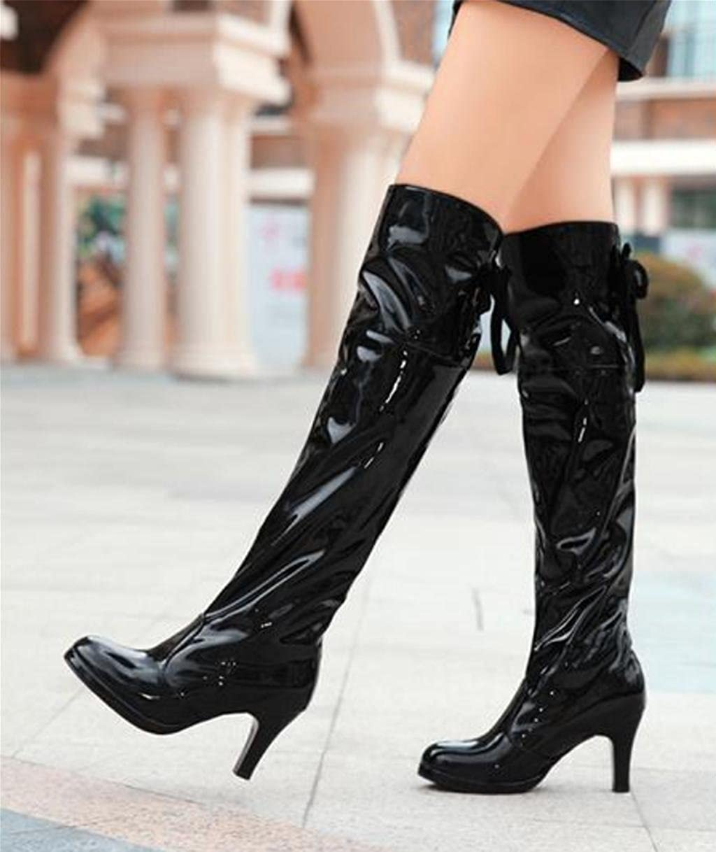 af7d2877872 DZW Womens Ladies Sexy Over The Knee Thigh High Heel Chunky Platform ...