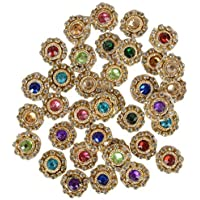 Am Glass Pastable Stone Patches for Jewellery and Crafts (Multicolour) - Pack of 50