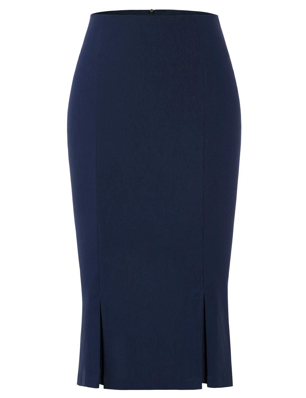 MUXXN Womnes Cute Summer Illusion Mermaid Formal Work Midi Skirt (Blue M)