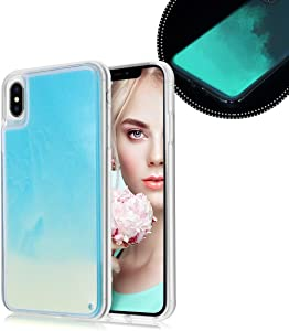 Losin Fluorescent Case Compatible with Apple iPhone 7 Plus/iPhone 8 Plus 5.5 Inch Case Luxury Glow in The Darkness Noctiluncent Liquid Luminous Sand Hard PC + Soft TPU Fluorescent Case