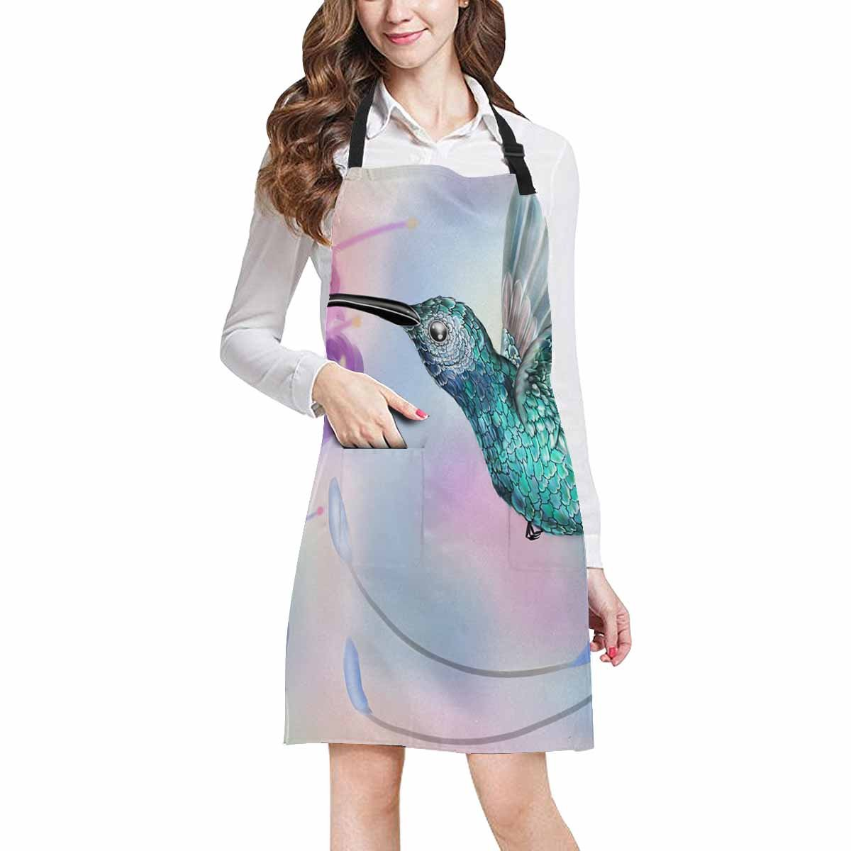 InterestPrint Hummingbird and Flower Funny Animal Art Chef Kitchen Apron, Adjustable Strap & Waist Ties, Front Pockets, Perfect for Cooking, Baking, Barbequing, Large Size
