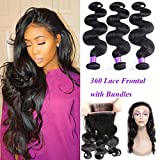 YoungFace 360 Lace Frontal with Bundles 8A Grade Brazilian Body Wave with 360 Frontal Unprocessed Virgin Human Hair with 360 Frontal Closure (18 20 22+16 360 frontal, Natural Color)
