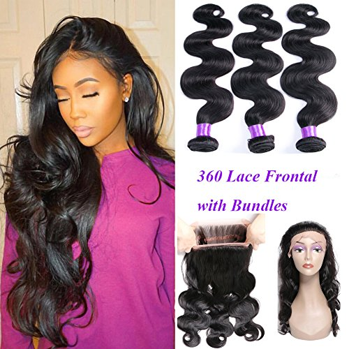 YoungFace 360 Lace Frontal with Bundles 8A Grade Brazilian Body Wave with 360 Frontal Unprocessed Virgin Human Hair with 360 Frontal Closure (18 20 22+16 360 frontal, Natural Color) by YoungFace