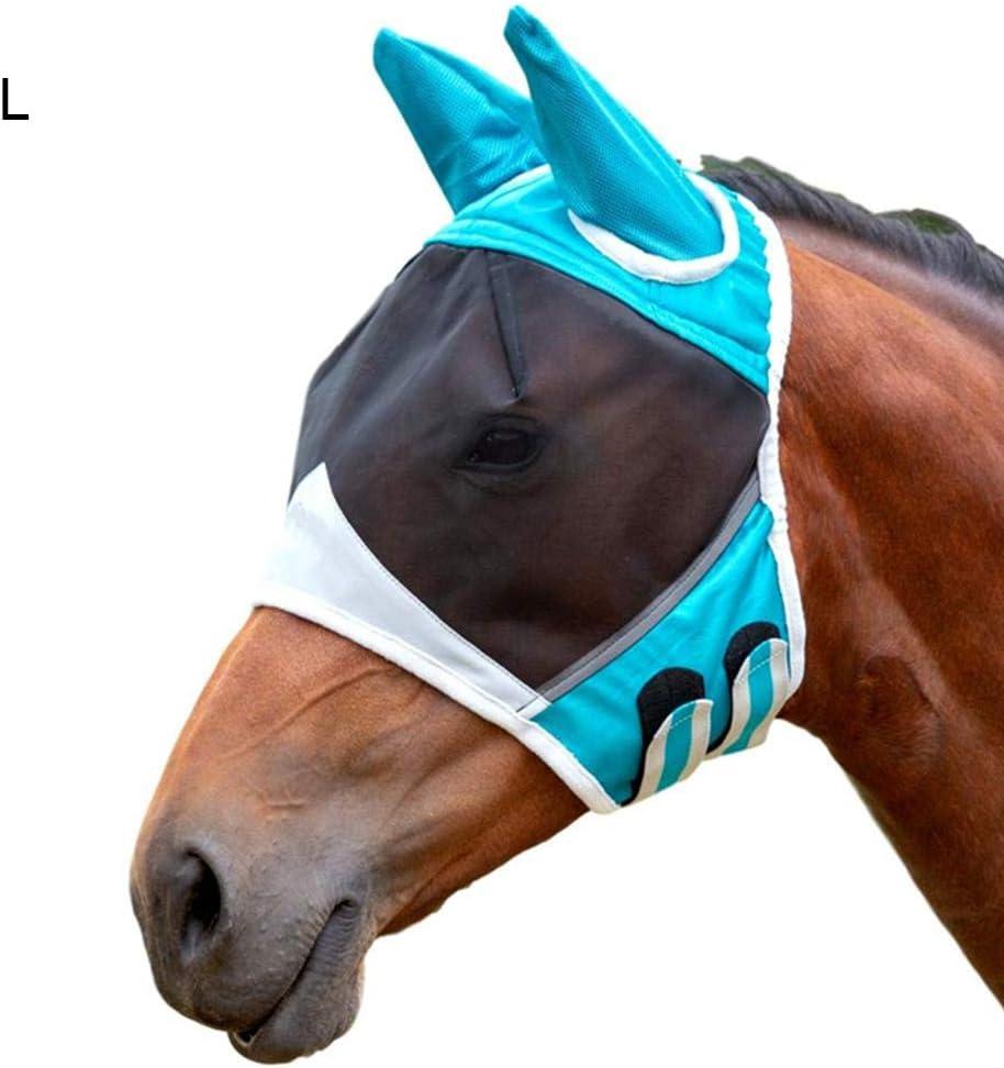moiti/é du Visage Bleu, M Anti-Moustique Oyria Masque Anti-Mouches Respirant avec Oreilles Extension du Nez Protection UV pour Cheval