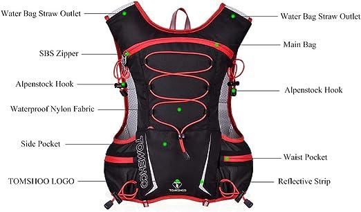 TOMSHOO Mochila Hidratación 5L de Nylon Impermeable para Correr, Viajes, Senderismo, Camping, Caminar, Escalada, Actividades al Aire Libre (Rojo)