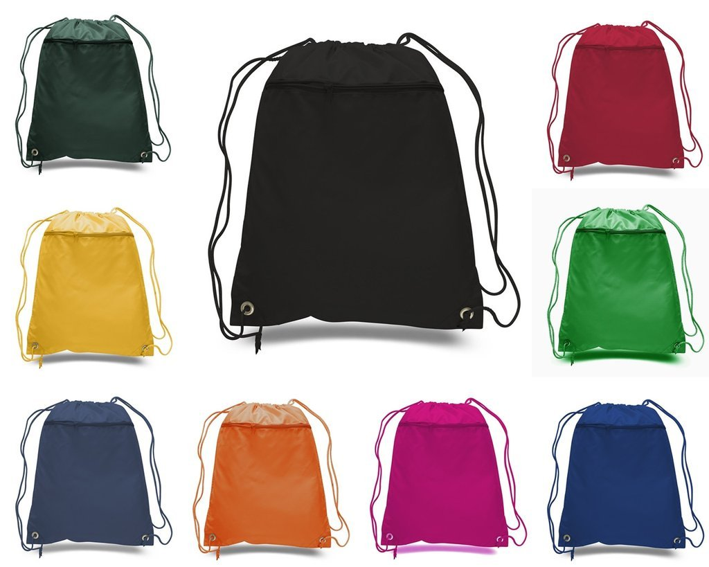 50 PACK - Multipurpose Polyester Drawstring Backpack Bags BULK with Front Zipper Pocket - School Bags Event Tradeshow bags Charity Donation Wholesale Cheap Drawstring Backpacks (Mix-Assorted) by BagzDepot