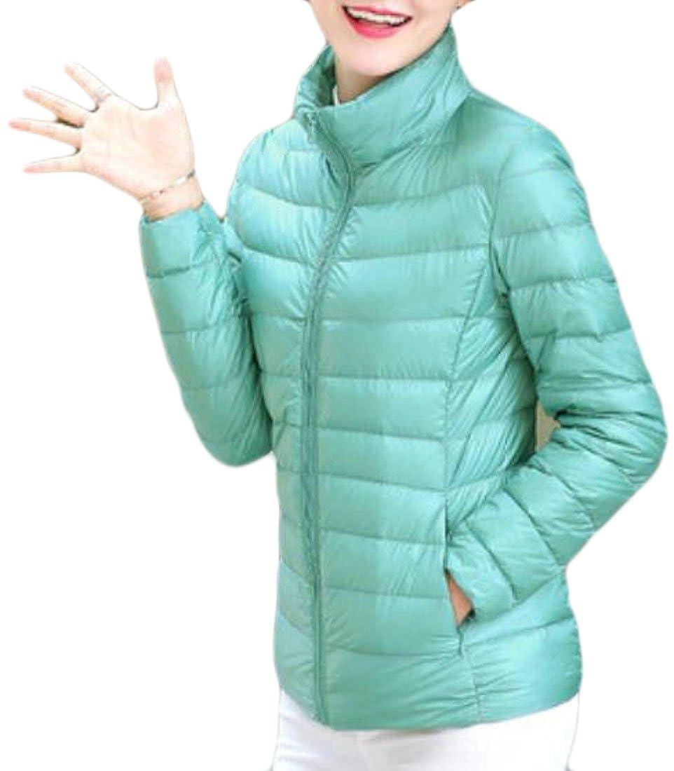 KLJR-Women Outdoor Stand Collar Packable Puffer Jackets Lightweight Down Coats