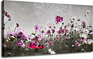 Canvas Wall Art Flower Colorful Painting Prints One Panel Large Size Landscape Picture, Grey Flash Sky Modern Nature Pink Wildflowers Artwork Framed for Living Room Bedroom Kitchen Home Office Decor