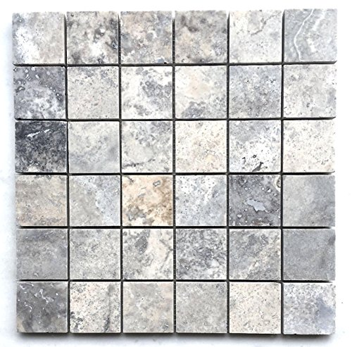 Silver 2x2 Honed and Filled Travertine Mosaic Tile Backsplashes Walls Floors - Shower Floor Tiles