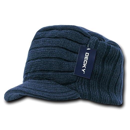 944b61b2387 Amazon.com  Decky Inc Knitted Cadet Flat Top Visor Beanie Skull Hat ...