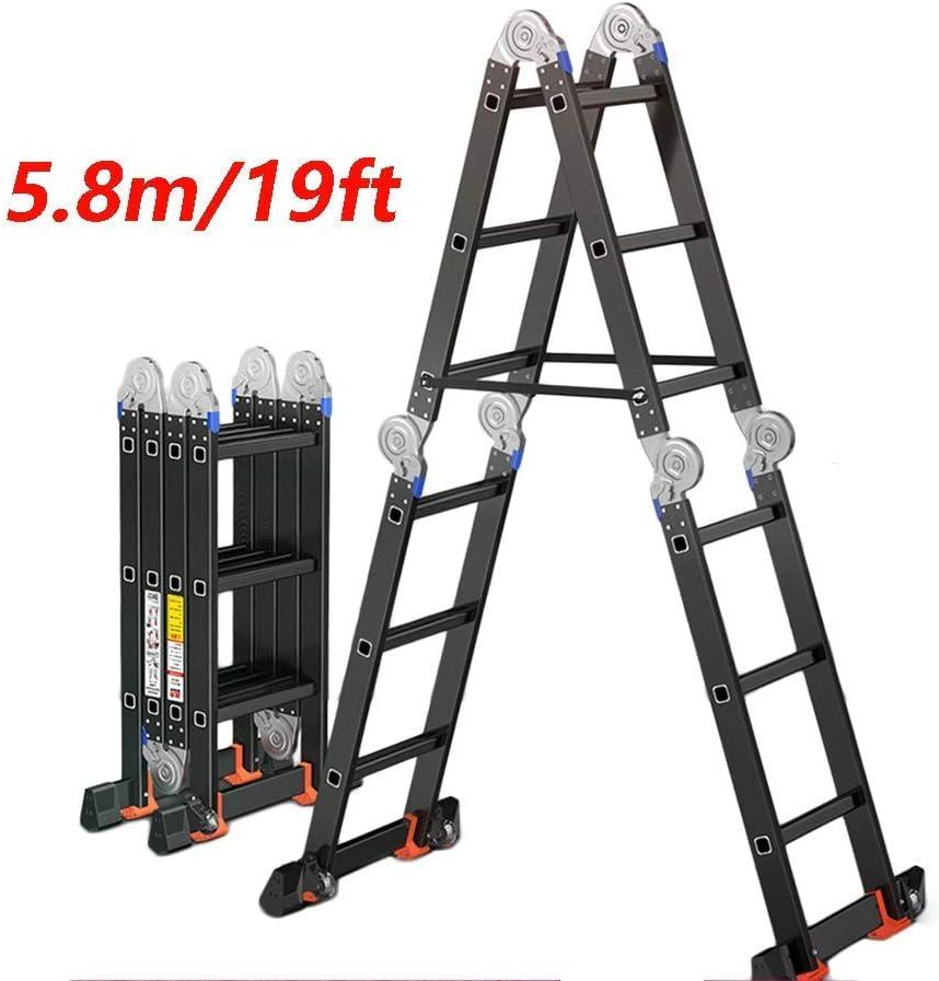 WGWJ Escalera telescópica Plegable de aleación de Aluminio, Elevador Multifuncional doméstico en Espiga Combinado 7 en 1 de Servicio Pesado 19 pies (5,8 Metros): Amazon.es: Hogar