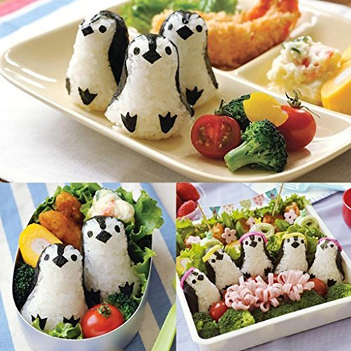 Yeefant DIY Picnic Kitchen Cutter Sushi Mould Bento Rice Ball Penguin Mold Sandwich for Decorate Your Sweety Cooking,Polypropylene Surface Prevent to Stick Rice