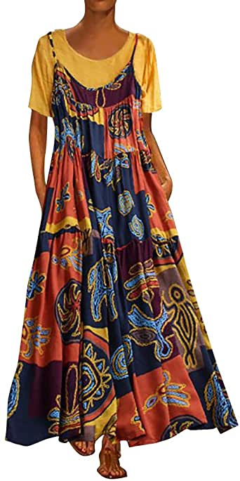 Maxi Dresses for Women, Uscharm Crew Neck Patchwork Two