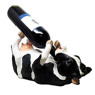 KITCHEN DECOR BOVINE BREW HOLSTEIN COW OIL WINE BOTTLE HOLDER FIGURINE STATUE