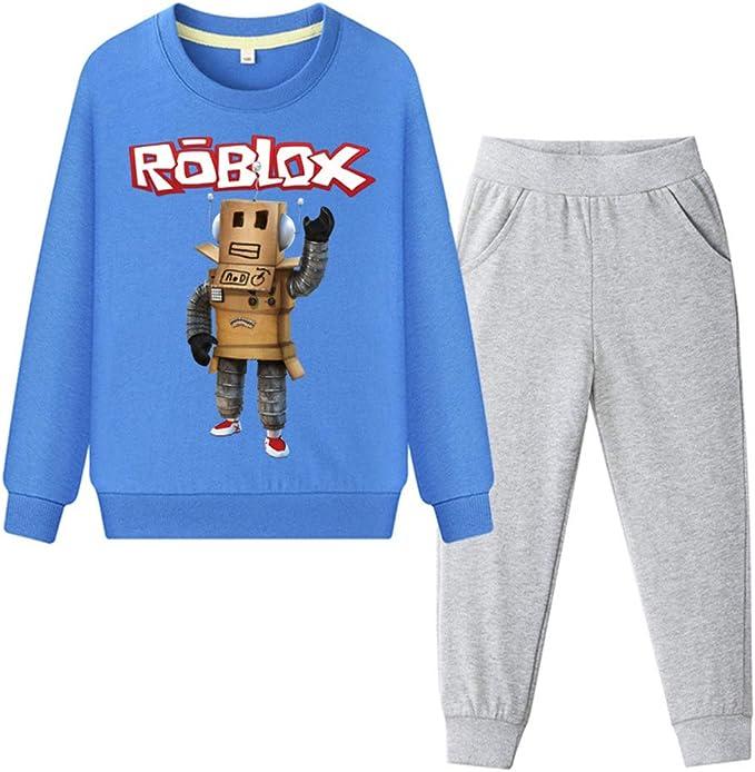 Tute da Ginnastica Bambini e Ragazzi Roblox Completi Sportivi Stampa Felpa con Cappuccio e Pantaloni Set