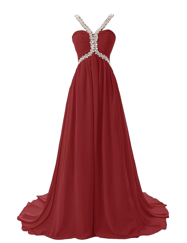 Dresstells Ruffles Spaghetti Straps Evening Party Formal Prom Dress Beaded Empire Long Chiffon Dress