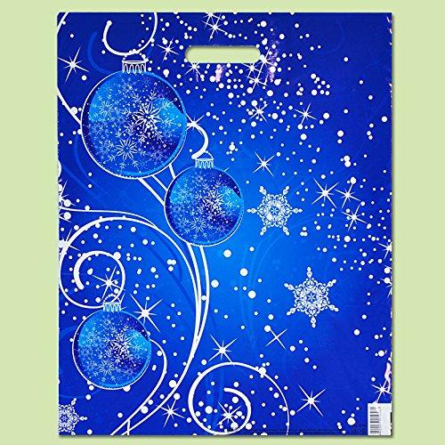 Lot de 50 Eco Christmas-printed Bleu Plastique Cadeau Sacs de transport 40 x 50 cm EXTRAPACK