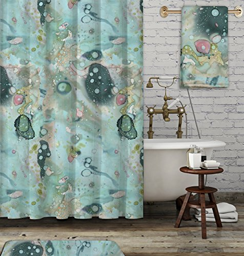 Gypsy Shower Curtain (Organic blue abstract shower curtain. Boho gypsy style bathroom accessories. Add a matching bath mat! Artwork by mixed media artist C.Cambrea.)