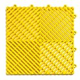 RaceDeck Free-Flow Open Rib Design, Durable Interlocking Modular Garage Flooring Tile (48 Pack), Yellow