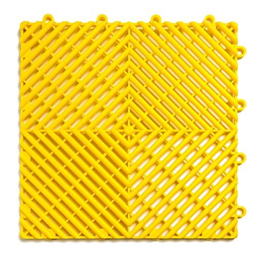 RaceDeck Free-Flow Open Rib Design, Durable Interlocking Modular Garage Flooring Tile (48 Pack), Yellow by RaceDeck