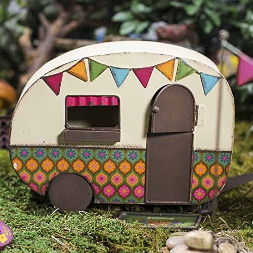 Groovy colorful metal rv camper for fairy gardens vintage for Metal craft trailers parts