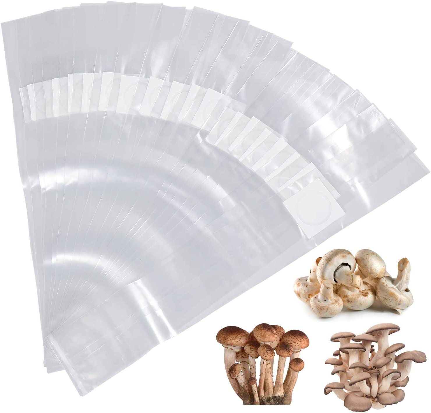 Yotako - Bolsas de cultivo de setas, 20 unidades, filtro de 0,2 micras, bolsa de cultivo de polipropileno, tamaño 15,2 x 12,7 x 50,8 cm para cultivo de setas