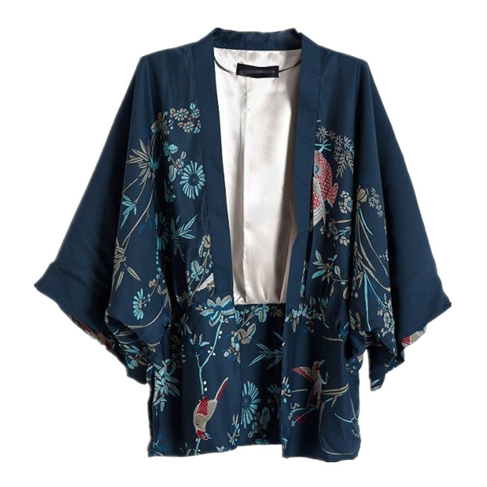 Japanese Style Women kimono Casual Women Blouse Coat (M)
