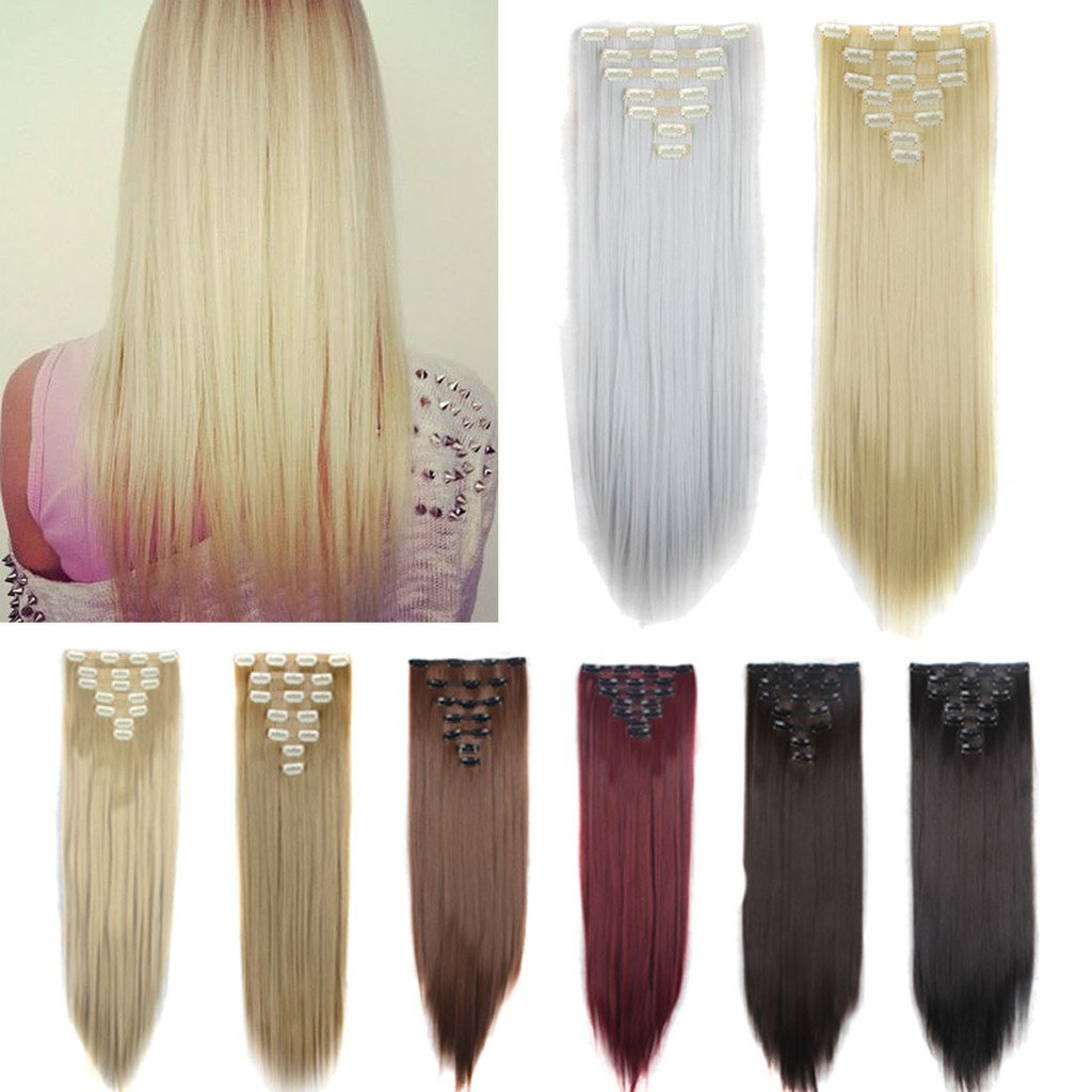 FUT 16 Clips in 7 PCS Straight Double Weft Synthetic Hair Pieces Extensions Full Head 23inch 160g for Girl Lady Women Dark Brown