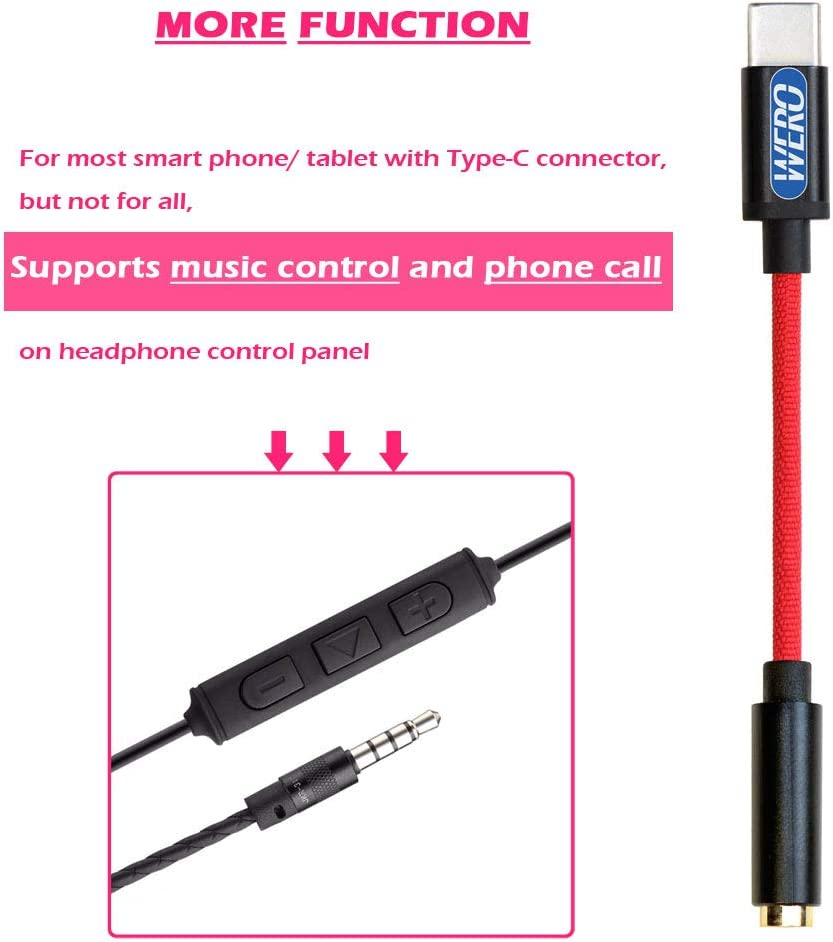 Applicable for Apple New iPad Pro Huawei Mate 20 P20 Pro Google Pixel 3XL// 3// 2XL// 2 WERO USB-C to 3.5mm Female Aux Adapter High Fidelity Audio Output Supports Headphone Music Control// Phone Call