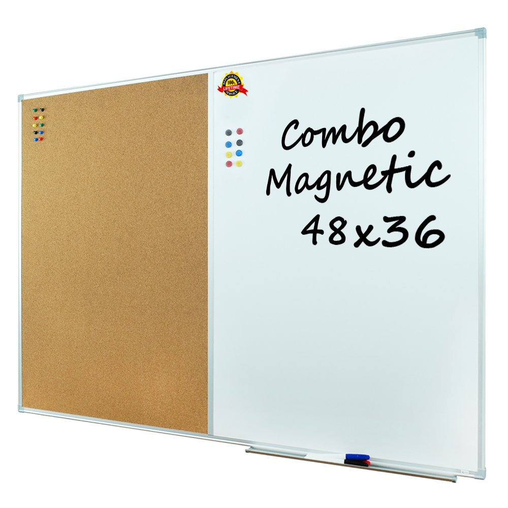 Lockways Dry Erase Board & Cork bulletin Board Combination - 48 x 36 Inch Magnetic Whiteboard & Corkboard, 4 x 3 Feet, Ultra-Slim Silver Aluminium Frame (48''x36'', Sliver)