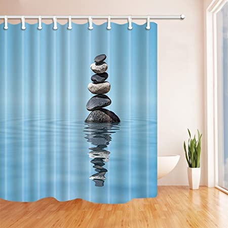 Rrfwq Japanese Shower Curtains for Bathroom Spa Yoga Stone Water ...