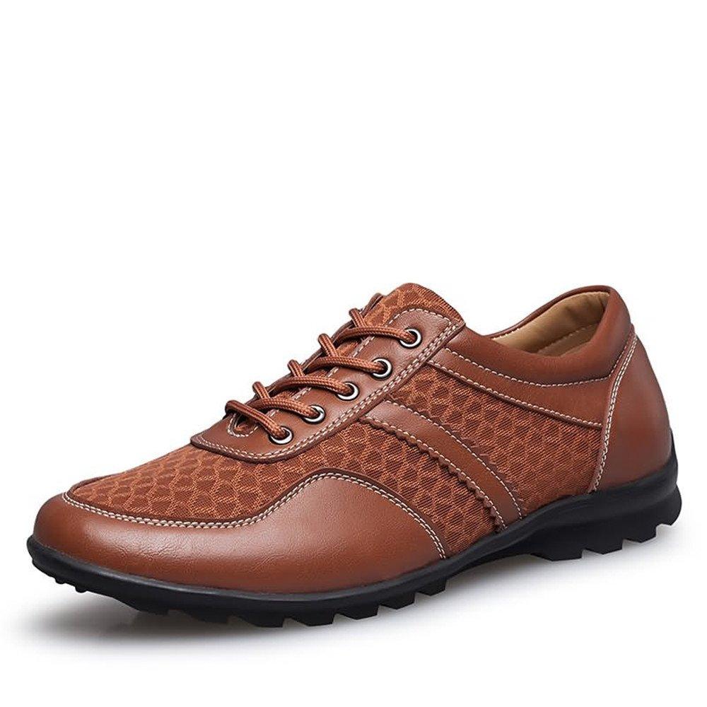 Sunny&Baby Los Hombres de conducción Loafer Flat Heel Lace Up Color sólido British Style Splice Vamp Zapatos de Moda Antideslizante (Color : Caqui, tamaño : 45 EU) 45 EU|Caqui