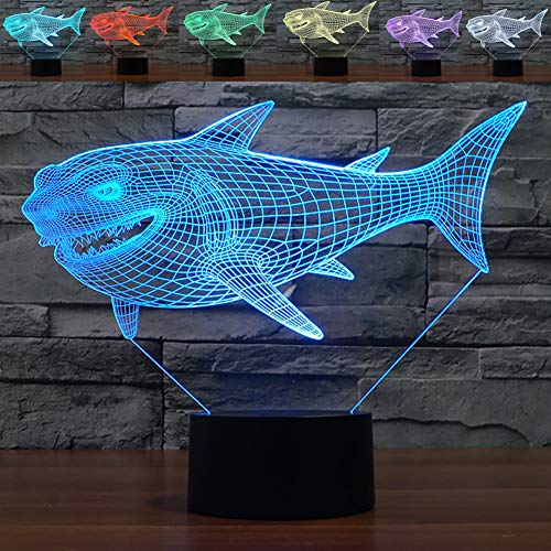 3D Shark Night Light Illusion Lamp YKL WORLD Touch 7 Color Changing Table Lamps Bed Room Decor Festival Birthday Gifts Toys for Kids Boys Children