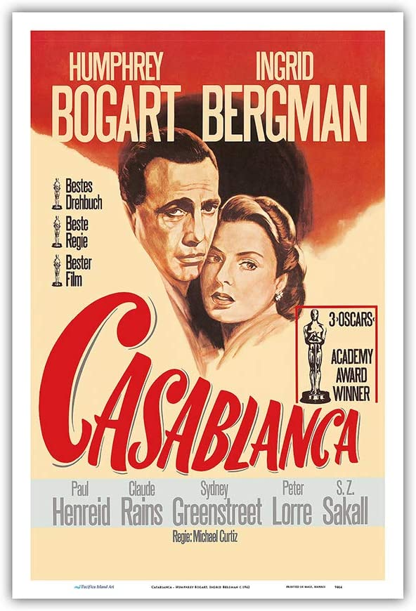 Casablanca - Starring Humphrey Bogart, Ingrid Bergman - Vintage Film Movie Poster c.1942 - Master Art Print 12in x 18in