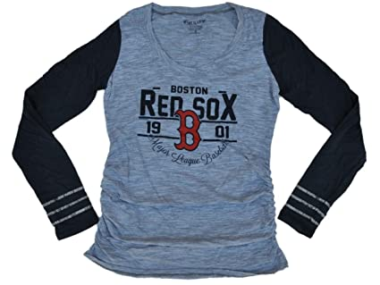 eb59975b8fc9c Boston Red Sox SAAG Women Maternity Gray Navy Tri-Blend Long Sleeve T-Shirt