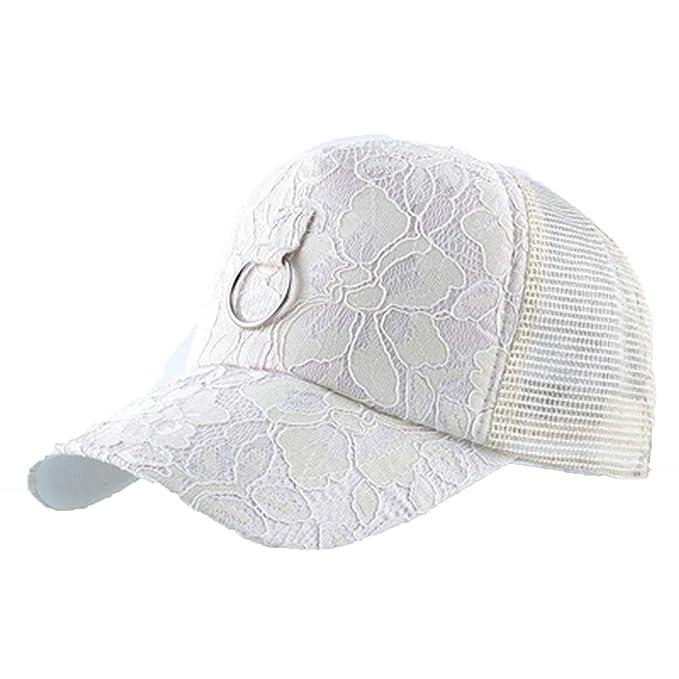 476be1a0da770 Lace Snapback Cap Women s Baseball caps Girls Sun hat Iron Ring Bone mesh  Hip hop Summer