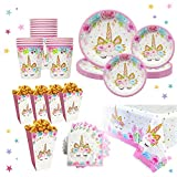 Unicorn Party Supplies Set for 16 | Plates, Cups,Table Cloth, Napkins, Popcorn Boxes Kit | Diposable Tableware | Magical Decorations for Girls or Kid's Birthday Parties, Baby shower by Bestus