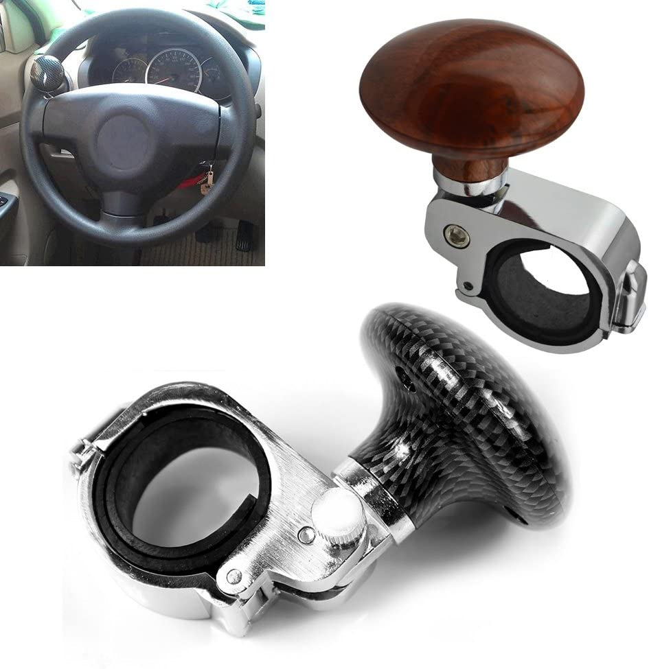 Asdomo Universal Steering Wheel Knob Spinner Ball Wood Grain Car Steering Wheel Assist Knob Steering Handle Ball for Car Truck Lorry Tractor