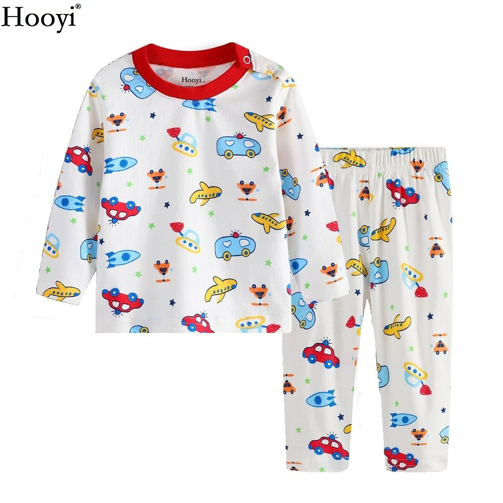 Hooyi Baby Boy Long Sleeve Cotton Boat Pajamas Sleepwear